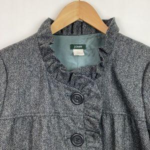 J.Crew 6 Vintage Fiona Jacket Ruffle Tweed Gray